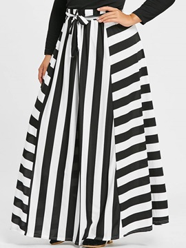 Stripe A Line Lace Up Womens Skirt