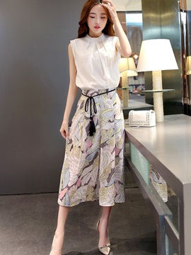 Sleeveless Tops And Print Skirt Womens Suit