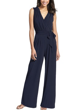 Plain High Waist Womens Jumpsuit