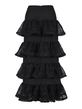 A Line Mid Calf Layered Womens Skirt