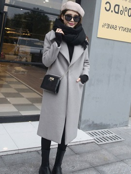 Tidebuy Long Lapel Womens Overcoat