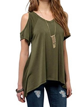 Hollow Plain Slim Womens T Shirt