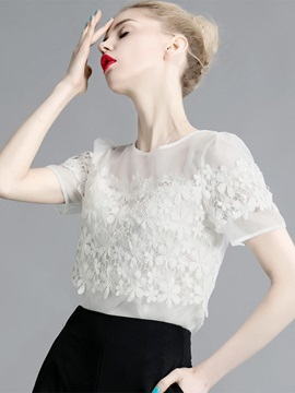 Lace Slim Short Sleeve Women T Shirt