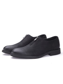 Pu Zipper Sewing Low Cut Upper Mens Dress Shoes