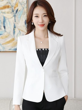 Button Notched Lapel Slim Womens Blazer