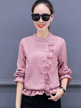 Long Sleeve Regular Button Womens Blouse