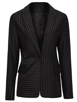 Long Sleeve Mid-Length Notched Lapel One Button Blazer