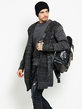 Tidebuy Hooded Mid Length Cardigan Mens Coat