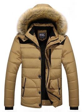 Tidebuy Solid Color Hooded Zipper Mens Winter Coat