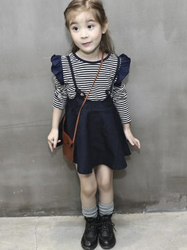 Striped T Shirt With Denim Skirt Girls 2 Pcs Outfit