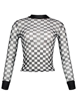 Stand Collar Color Block Plaid See Through Womens T Shirt