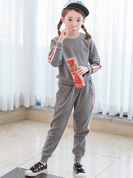 Sport Casual Thicken Stripe Girls Outfit