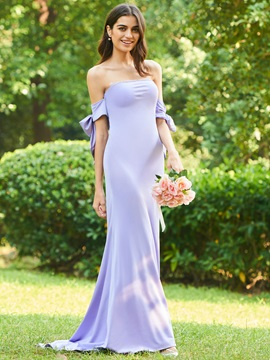 Buttoned Lace Off The Shoulder Bridesmaid Dress