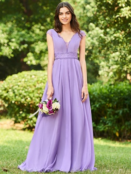 Cap Sleeves Lace Long Bridesmaid Dress