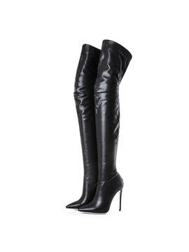 PU Back Zip Pointed Toe Stiletto Women's Boots