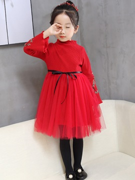 Flower Embroidery Flare Sleeve Mesh Girls Princess Dress