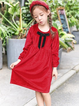 Fleece Bowknot A Line Girls Princess Dress