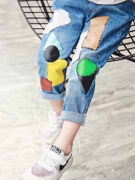 Elastics Color Block Denim Girls Jeans