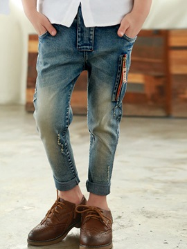 Denim Zipper Slim Boys Jeans