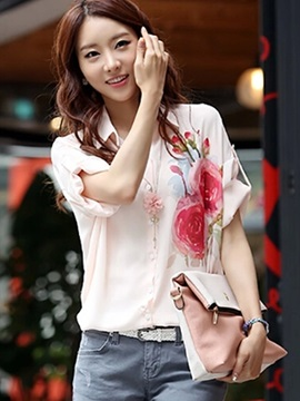 Chiffon Half Sleeve Womens Shirt