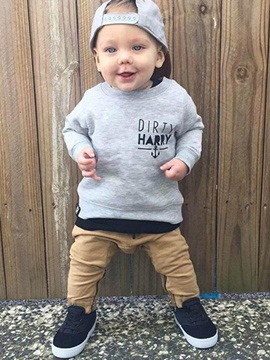 Letter Print Sweatshirt With Pants Baby Boys Outfit