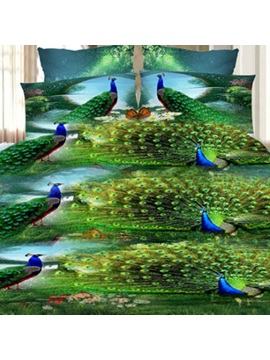 Wannaus Green Peacock Print 4 Piece Polyester 3d Duvet Cover Sets