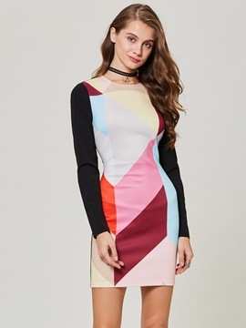 Color Block Patchwork Long Sleeve Womens Bodycon Dress