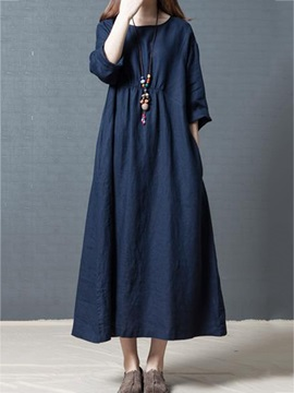Solid Color Half Sleeve Pocket Womens Casual Dress