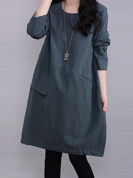 A Line Plain Round Neck Womens Casual Dress