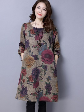 A Line Long Sleeve Round Neck Womens Casual Dresses