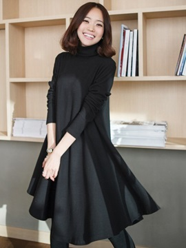 Long Sleeve Regular Turtleneck Womens Casual Dress