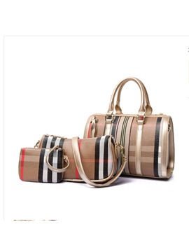 Graceful Plaid Pu Women Bag Set 2 Bags Set