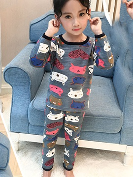 Cartoon Patchwork Print Girls Suit