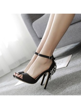 Silk Fabric Open Toe Heel Covering Black Sandals
