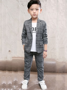 Plaid Single Breasted Jacket With Pants Boys Suit