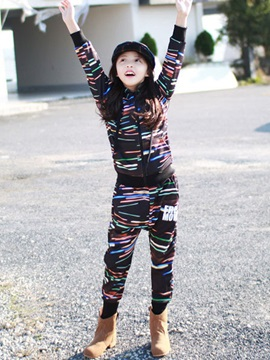 Stripe Hoodie With Harem Pants 2 Pieces Girls Outfit