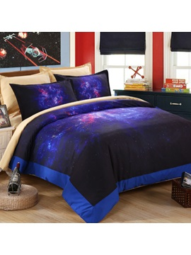 Wannaus Dreamlike Purple Galaxy Printed 4 Piece Polyester Duvet Cover Sets