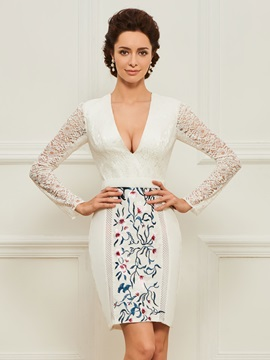 Long Sleeve Embroidery Lace Short Mother Dress