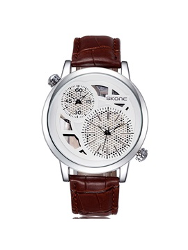 Double Movement Time Zone Mens Strap Watch