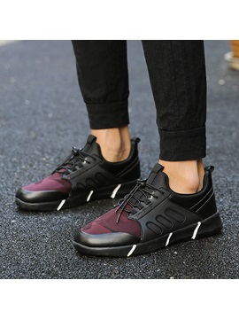 Cloth Patchwork Lace Up Sneakers For Men