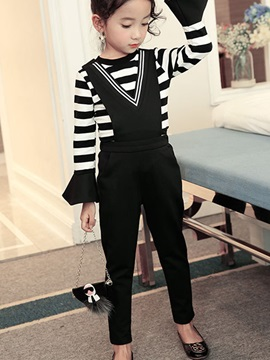 Stripe Flare Sleeve T Shirt With Jumpsuit Girls Outfit