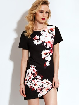 Tidebuy Short Sleeves Floral Womens Dress