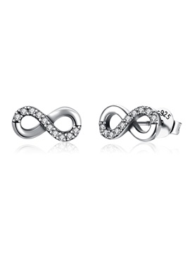 Eight Shape Interlaced Imitation Diamond Stud Earrings