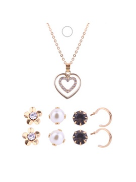 Sweet Double Heart Shape Concise Necklace Earrings Jewelry Sets