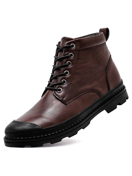 Pu Lace Up Front Plain Mens Boots