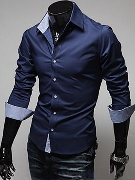 Tidebuy Plain Lapel Single Breasted Mens Casual Shirt