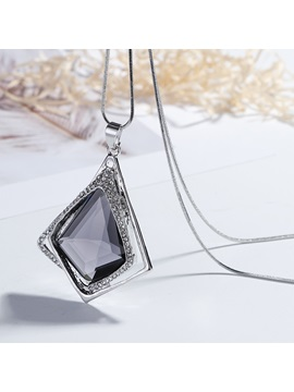 Rhombus Rhinestone Shaped Concise Snake Chain Necklace