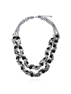 Double Layers Pearl Inlaid Cloth Chain Necklace