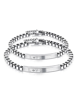 Titanium Steel E Plating Couples Charm Bracelets