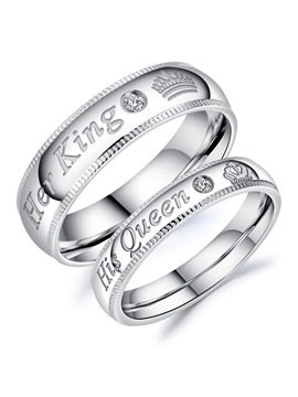 Letter Pattern Titanium Steel Lovers Rings
